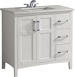 Simpli Home Winston 36 inch Bath Vanity in Off White with Bombay White Engineered Quartz Marble Top