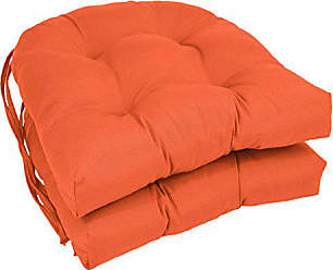 Blazing Needles Solid Twill U-Shaped Tufted Chair Cushions (Set of 2), 16, Tangerine Dream