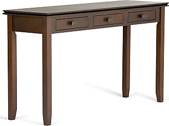 Simpli Home Artisan Solid Wood Wide Console Table in Medium Auburn Brown