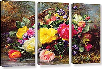 ArtWall Albert Williamss Roses from A Victorian Garden, 3 Piece Gallery-Wrapped Canvas Set, 36 X 54