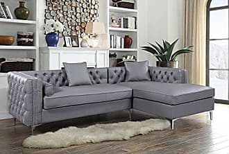 4f8fca599e8f Iconic Home Da Vinci Tufted Silver Trim Grey PU Leather Right Facing  Sectional Sofa with Silver