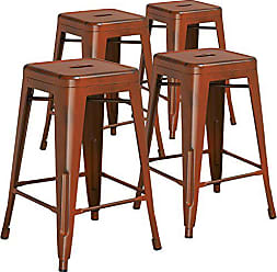 Flash Furniture 4 Pk. 24 High Backless Distressed Orange Metal Indoor-Outdoor Counter Height Stool