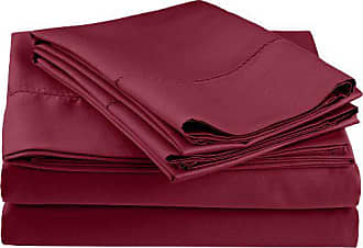 Superior Cotton Blend 600 Thread Count, Deep Pocket, Soft, Wrinkle Resistant 4-Piece King Bed Sheet Set, Classic Hemstitch Wine