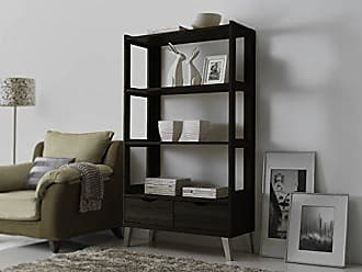 Wholesale Interiors Baxton Studio Kalien Modern & Contemporary Wood Bookcase with Display Shelves & Two Drawers, Dark Brown