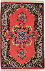 Nain Trading Authentic Keshan Rug 33x23 Beige/Red (Wool, Iran/Persia, Hand-Knotted)