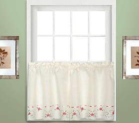 United Curtain Rachael Embroidered Kitchen Tiers, 60 by 36-Inch, Rose, Set of 2
