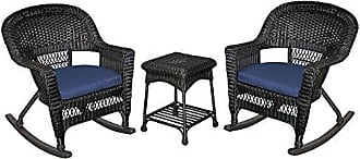 Jeco W00207R-D_2-RCES011 3 Piece Rocker Wicker Chair Set with with Blue Cushion, Black