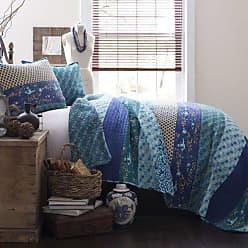 Lush Décor Royal Empire Quilt Striped Pattern Reversible 3 Piece Bedding Set, King, Peacock