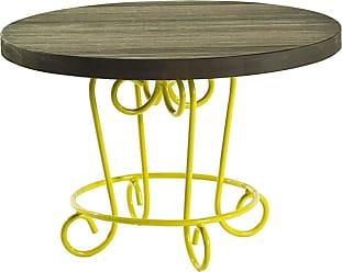 Mão & Formão Mesa de Centro Paix 50 cm Amarela e NogueiraAmarelo e Nogueira