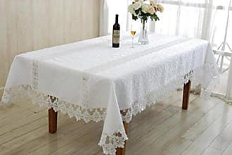 Violet Linen Glory Embroidered Vintage Lace Design Oblong/Rectangle Tablecloth, 54 x 72, White