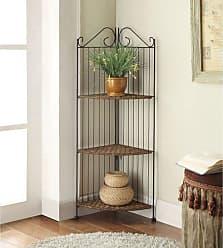 4D Concepts Farmington 3 Tier Folding Corner Maize Weave/Black Iron Shelf Corner Bookcase - 144023