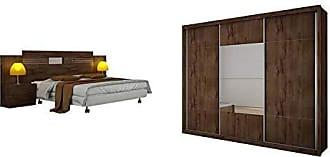 Novo Horizonte Quarto de Casal Completo MadeiraMadeira com Guarda Roupa 3 Portas e Cabeceira com 2 Criados Mudos 400878 Canela