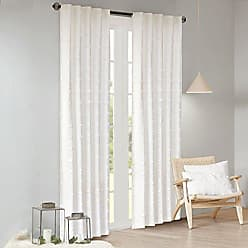 Urban Habitat Brooklyn 100% Cotton Jacquard Pom Rod Pocket Back Tab Window Curtain Panel Drape for Living Room Bedroom and Dorm, 42 W x 63 L, Ivory
