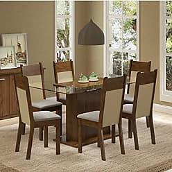 Madesa Conjunto Sala de Jantar Mesa 6 Cadeiras Atlanta Madesa Rustic/Crema/Pérola