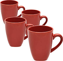 10 Strawberry Street Square 10 Oz Mugs, Set of 6, Red