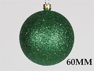 Queens of Christmas WL-ORN-BLKG-60-GR-W 60mm Glitter Green Ball Ornament with Wire (Pack of 12)