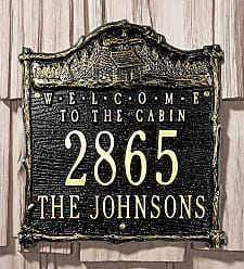 Whitehall Welcome To The Cabin Address Plaque In Cast Aluminum, in Black
