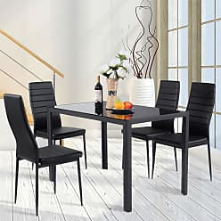 Overstock Costway 5 Piece Kitchen Dining Set Glass Metal Table and 4 Chairs Breakfast Furniture - Black