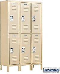 Salsbury Industries Assembled 2-Tier Extra Wide Standard Metal Locker with Three Wide Storage Units, 6-Feet High by 15-Inch Deep, Tan
