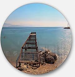 DESIGN ART Designart Old Pier at Beach Panoramic View Wooden Sea Bridge Large Metal Wall Art - Disc of 11 11 H x 11 W x 1 D 1P Blue