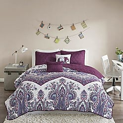 INTELLIGENT DESIGN Tulay Printed Ultra Soft Microfiber Bohemian Boho Reversible 4 Piece Quilt Coverlet Bedspread Bedding Set, Twin/Twin XL Size, Purple