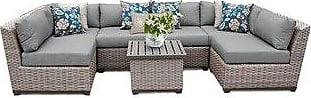 TK Classics Florence 7 Piece Outdoor Wicker Patio Furniture Set 07c (White)
