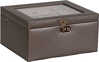 Mele & Co. Linden Glass Top Fashion Jewelry Box in Textured Faux Leather, Pewter