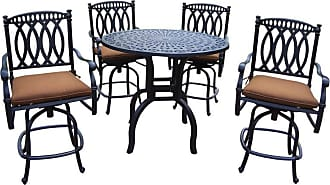 Oakland Living Outdoor Oakland Living Morocco Aluminum 5 Piece Counter Height Patio Dining Set with Sunbrella Cushions Light Brown - 7204CHT-7218CHS4-D56-9-AB