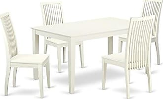 East West Furniture CAIP5-LWH-W Dining Set, Large, Linen White