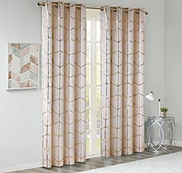 INTELLIGENT DESIGN Raina Total Blackout Metallic Print Grommet Top Window Curtain Panel Thermal Insulated Light Blocking Drape for Bedroom Living Room and Dorm, 50 W x 84 L, Blush/Gold