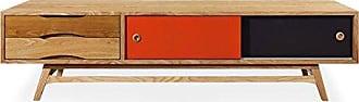 Kardiel Color Pop Mid-Century Modern Media Cabinet, Oak/Orange & Charcoal Doors