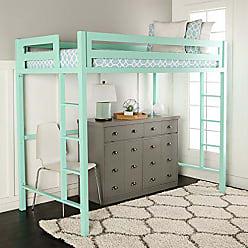 Walker Edison WE Furniture Premium Twin Metal Loft Bed, Mint