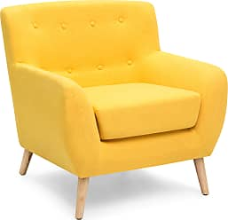 Best Choice Products Mid-Century Modern Linen Upholstered Button Tufted Accent Chair - Yellow