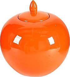 Benzara BM180941 Round Ceramic Lidded Bellied Jar, Orange