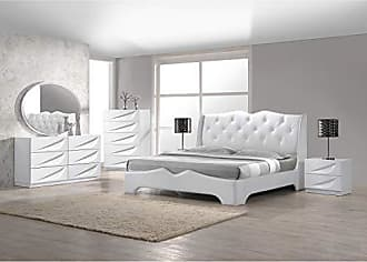 Best Master Furniture Madrid 5 Pcs Modern Lacquer Bedroom Set, Queen, White