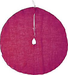 LA Linen Round Burlap Skirt Christmas Tree Decor, 40, Fuchsia, Inch