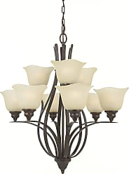 Feiss F2053/6+3GBZ Morningside Chandelier in Grecian Bronze finish with Cream Snow Glass Shade
