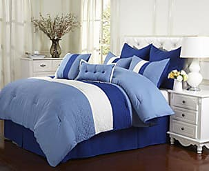 Superior 8-Piece Luxurious Florence Comforter Set, Beautiful Pleated Bed-in-a-Bag, King, Sky Blue