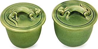Novica Animal Themed 74231 Lithe Gecko 2 Piece Ceramic Condiment Bowls