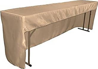 LA Linen Open Back Fitted Bridal Satin Classroom and Meeting Room Tablecloth, 72 x 18 x 30, Taupe