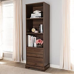 Baxton Studio Burnwood Modern and Contemporary Walnut Brown Finished Wood 2-Drawer Bookcase - BC 1860-23-BROWN