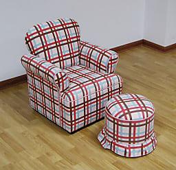 4D Concepts Plaid Arm Chair with Ottoman - K3186+K3187-A354