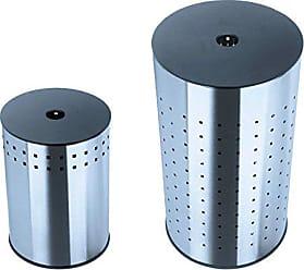 60,5 cm H/öhe Metall Wei/ß MSV W/äschetonne W/äschekorb W/äschesammler W/äschetruhe mit Sitzkissen Rund