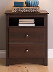 Prepac EDC-2428 Fremont 2 Drawer Nightstand with Open Shelf, Espresso, Tall