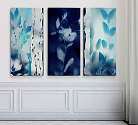 WEXFORD HOME Indigo Montage 3 Panel Gallery Wrapped Canvas Wall Art, 24x36