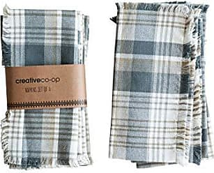 Creative Co-op Creative Co-op Olive Green & Grey Square Cotton Checked Fringe (Set of 4) Napkins, Green