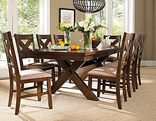 Round Hill Furniture Karven 9-Piece Solid Wood Dining Set with Table and 8 Chairs
