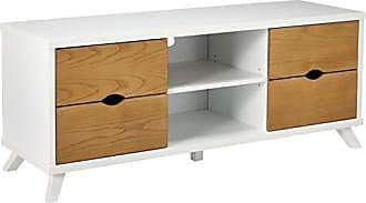 Major-Q Modern White 4-Drawer Wooden TV Stand with Shelves, Pxf904450