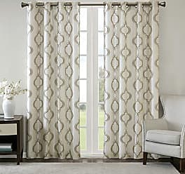 Madison Park JLA Home INC Tan Curtains for Living Room, Transitional Fabric Silver Grommet Curtains for Bedroom, Harlan Embroidered Window Curtains, 50X95, 1-Panel Pack
