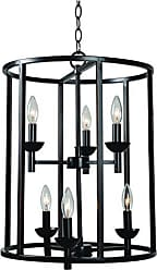 Kenroy Home Arlen 6 Light Foyer, Pendant, Blackened Oil Rubbed Bronze Finish